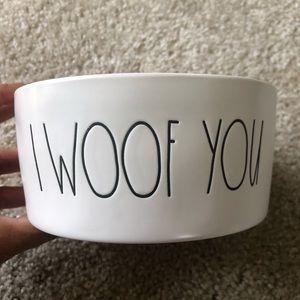 New Rae Dunn Dog Bowl I Woof You White